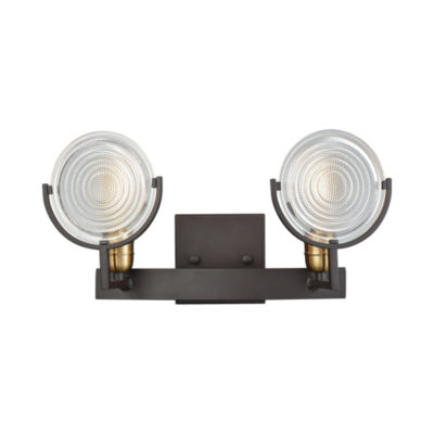 Ocular 2 Light Vanity In Oil Rubbed Bronze With Satin Brass Accents And Clear Railroad Light Glass