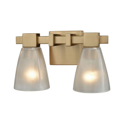 Ensley 2 Light Vanity In Satin Brass With Frosted Glass