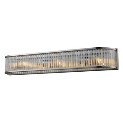 Braxton 3 Light Vanity In Polished Nickel And Ribbed Glass Rods