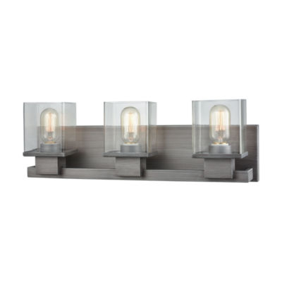 Hotelier 3 Light Vanity In Weathered Zinc With Clear Glass