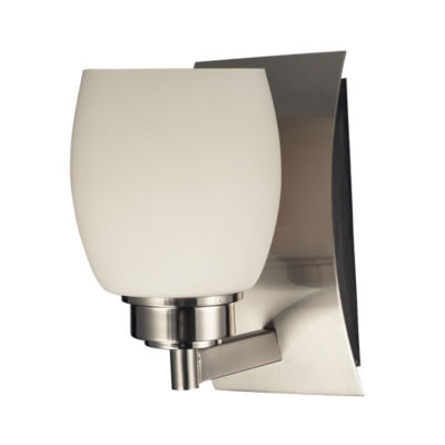 Northport 1 Light Vanity In Satin Nickel And Opal White Glass