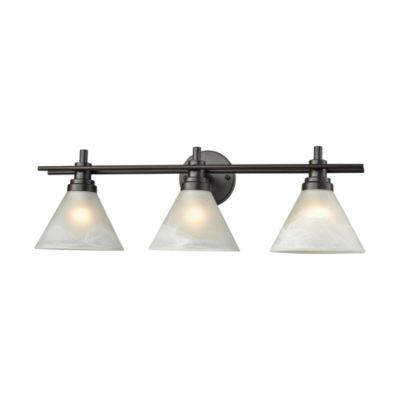 Pemberton 3 Light Vanity In Oil Rubbed Bronze With White Marbleized Glass