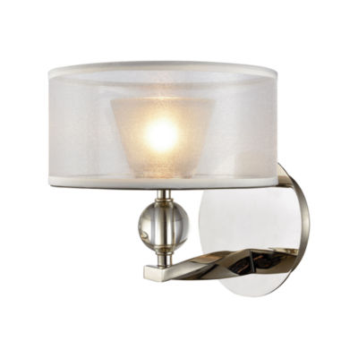 Corisande 1 Light Vanity In Polished Nickel With Silver Organza Shade