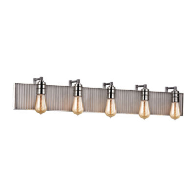 Corrugated Steel 5 Light Vanity In Weathered Zinc And Polished Nickel