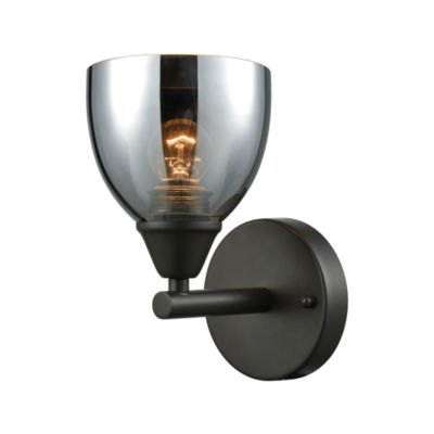 Reflections 1 Light Vanity In Oil Rubbed Bronze With Chrome Plated Glass