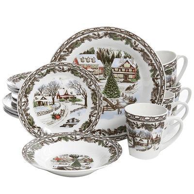 Gibson Home Christmas Toile 16 Piece Dinnerware Set
