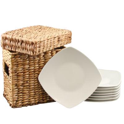 Gibson Zen Buffetware 8 Piece Dessert Plate Set With Wicker Package