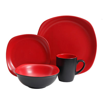 Tristen 16-Piece Dinnerware Set - Soft Square Matte, Red/Black