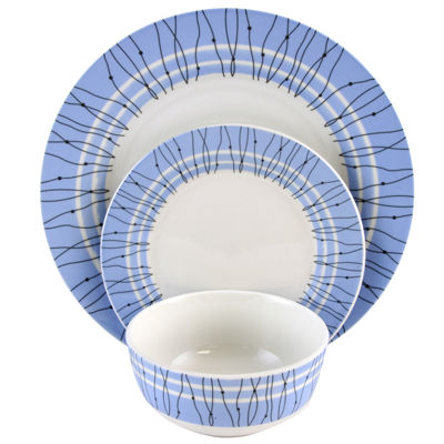 Gibson Home Decorated Classic Blue Fine Ceramic 12 Piece Dinnerware Set
