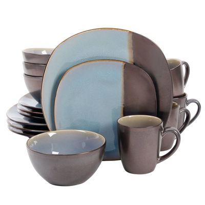 Volterra 16 Pc Dinnerware Set - Soft Square - Teal - Metallic Reactive - Stoneware