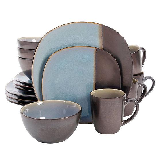 Volterra 16 Pc Dinnerware Set Soft Square Teal Metallic Reactive Stoneware