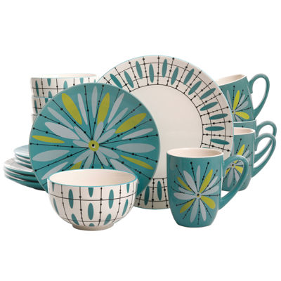 Luminescent Anza 16-Piece Dinnerware Set, Teal