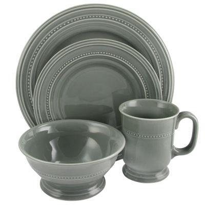 Gibson Barberware 16 Piece Dinnerware Set In Grey