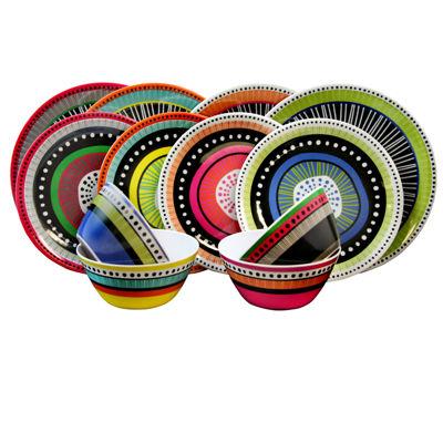 Gibson Almira 12 Piece Dinnerware Set  In 4 Assorted Colors