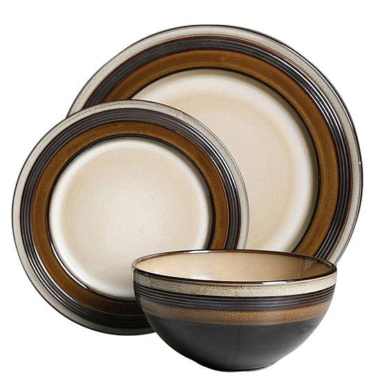 Everston 12 Pc Dinnerware Set - Brown - Metallic Reactive - Stoneware