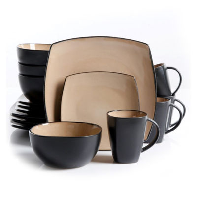 Gibson Home Soho Lounge 16 Piece Square Stoneware Dinnerware Set In Black And Taupe