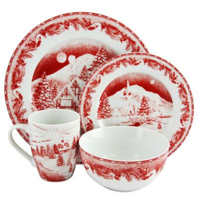 Gibson Elite Winter Cottage 16 Piece Dinnerware Decorated Set