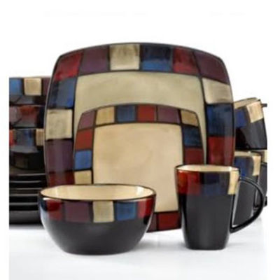 Gibson Soho Lounge 16 Piece Soft Square Reactive Glaze Dinnerware Set