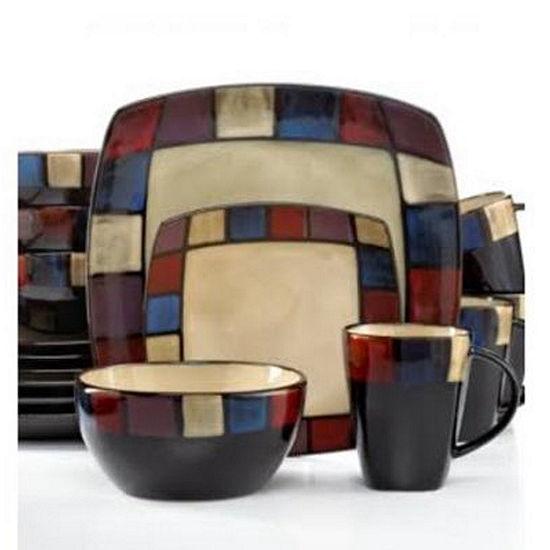Gibson Soho Lounge 16 Piece Soft Square Reactive Glaze Dinnerware ...
