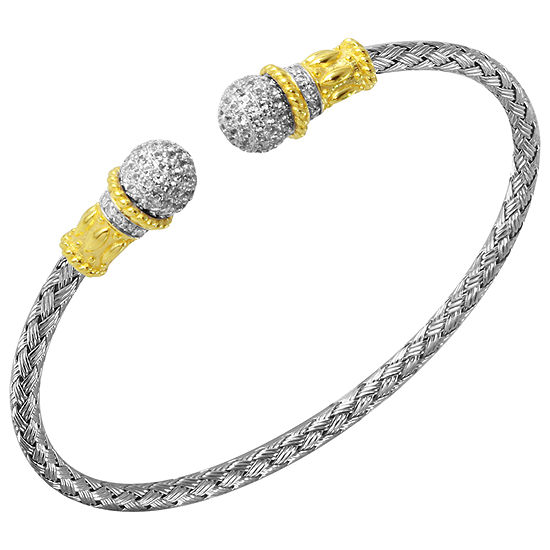 Paris 1901 By Charles Garnier Womens White Cubic Zirconia Cuff Bracelet 18k Gold Over Silver