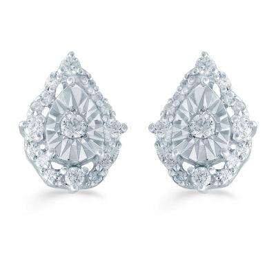 1/5 CT. T.W. Genuine White Diamond Sterling Silver 9.5mm Stud Earrings
