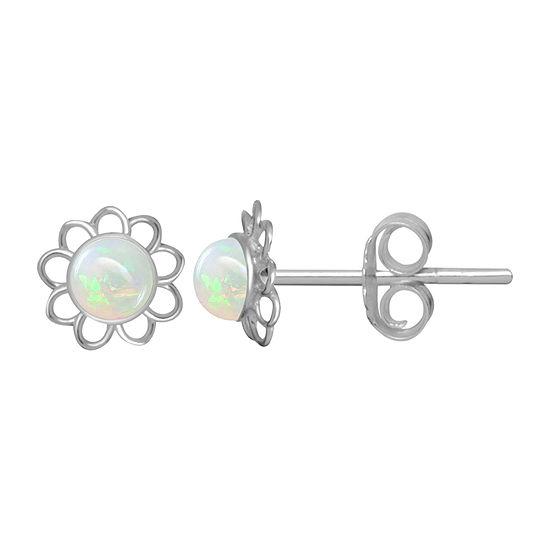 Itsy Bitsy White Opal Sterling Silver 6mm Flower Stud Earrings
