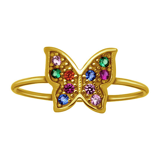 Itsy Bitsy Womens Multi Color Cubic Zirconia 14K Gold Over Silver Butterfly Delicate Cocktail Ring