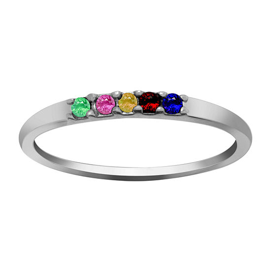 Itsy Bitsy Womens Simulated Multi Color Crystal Sterling Silver Stackable Ring