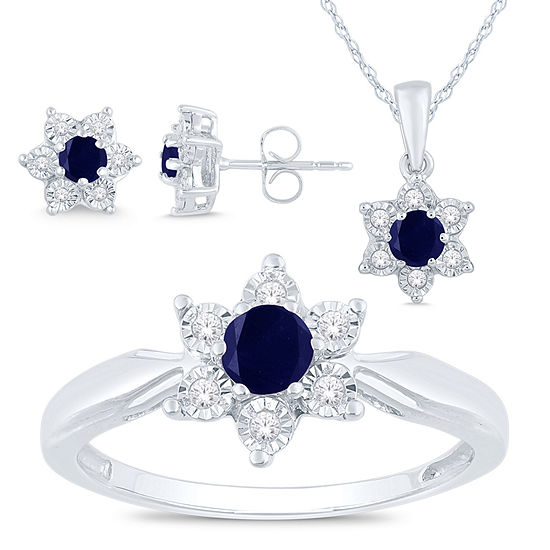 Genuine Blue Sapphire Sterling Silver Flower 3-pc. Jewelry Set