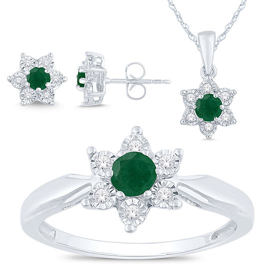 Genuine Green Emerald Sterling Silver Flower 3-pc. Jewelry Set