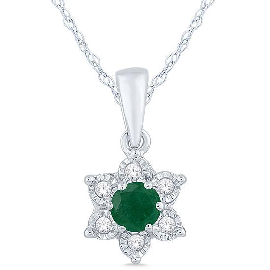 Genuine Green Emerald Sterling Silver Flower 3-pc. Jewelry Set