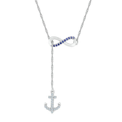 Womens Lab Created Multi Color Sapphire Infinity Pendant Necklace