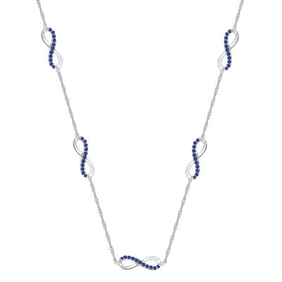 Womens Lab Created Blue Sapphire Infinity Pendant Necklace