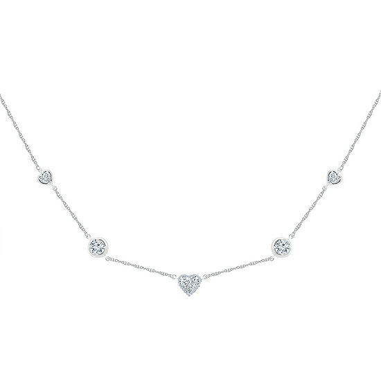 Womens Diamond Accent Lab Created White Sapphire Sterling Silver Heart Pendant Necklace