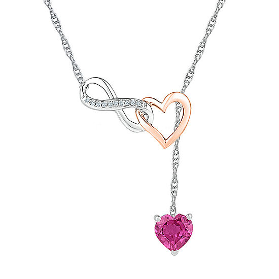 Womens Diamond Accent Lab Created Pink Sapphire 10K Rose Gold Sterling Silver Heart Pendant Necklace