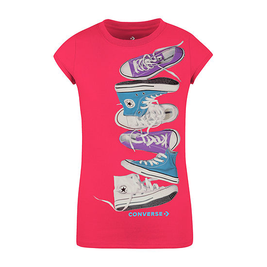 Converse Girls Crew Neck Short Sleeve Graphic T-Shirt - Preschool