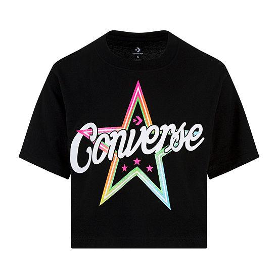 Converse Girls Crew Neck Short Sleeve Graphic T-Shirt - Preschool