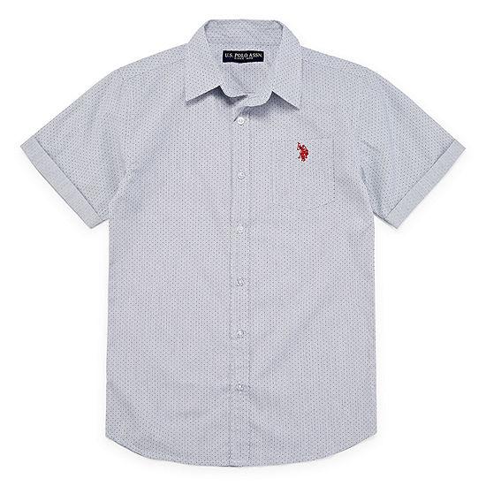 U.S. Polo Assn. Boys Short Sleeve Embroidered Button-Front Shirt Preschool / Big Kid Husky