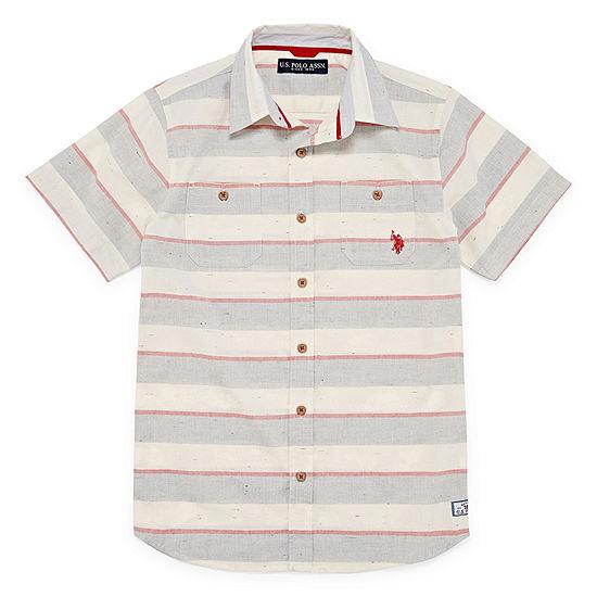 U.S. Polo Assn. Boys Short Sleeve Embroidered Button-Front Shirt Big Kid Husky