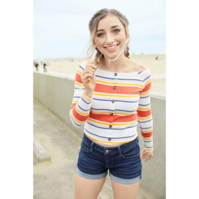 Arizona-Womens Straight Neck Long Sleeve T-Shirt Juniors