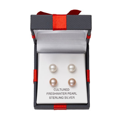 LIMITED TIME SPECIAL! 2 Pair Pink and White Cultured Freshwater Pearl  Stud Earring Set