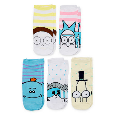 Rick And Morty 5 Pair No Show Socks - Womens