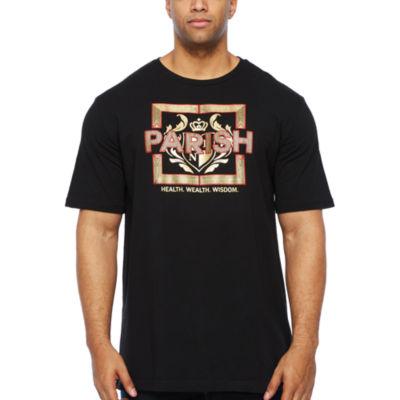Parish Mens Crew Neck Short Sleeve Graphic T-Shirt-Big and Tall