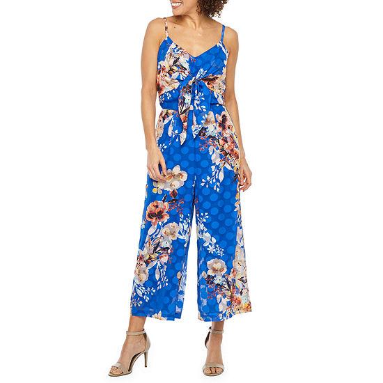 Weslee Rose Sleeveless Floral Dot Jumpsuit