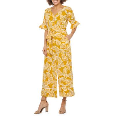 Weslee Rose Short Bell Sleeve Leaf Print Belted Jumpsuit