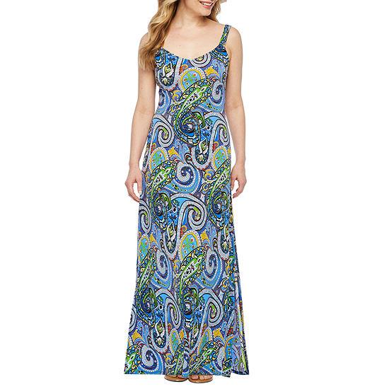 MSK Sleeveless Paisley Maxi Dress