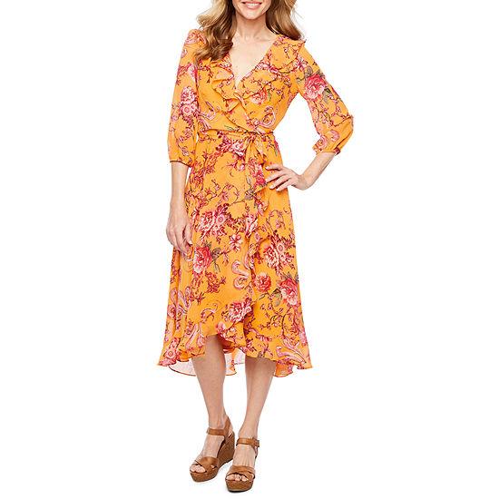 Danny & Nicole 3/4 Sleeve Floral Faux Wrap Dress