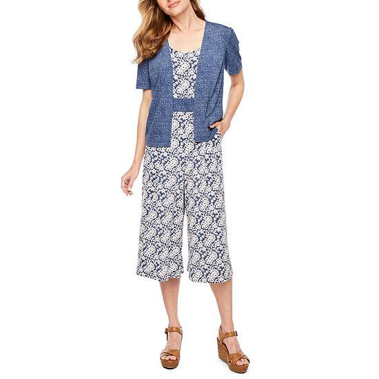 Perceptions Short Sleeve Puff Print Jumpsuit