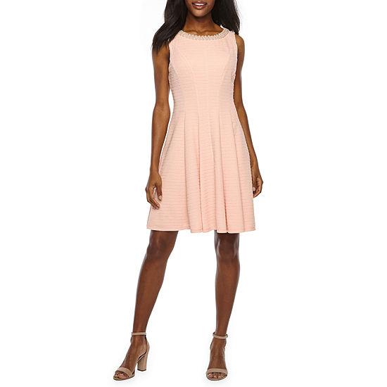 Studio 1 Sleeveless Embellished Jacquard Fit & Flare Dress