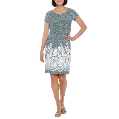 Perceptions Short Sleeve Bordered Puff Print Shift Dress